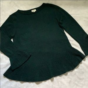 Style & Co Peplum Sweater Bell Sleeves Green